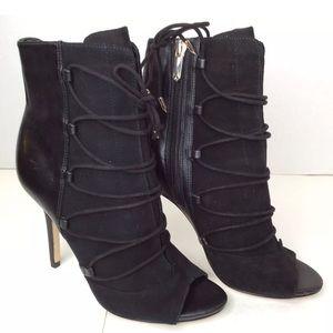 Sam Edelman Peep Toe Black Leather Suede Boots SZ6